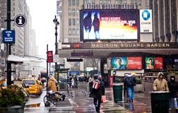 Madison Square Garden in blizzard Stock Photography