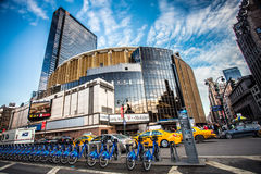 Madison Square Garden. New York City, New York, USA  - December 21, 2013: Street view with pedestrians visible outside Madison Square Garden in New York City on Royalty Free Stock Image