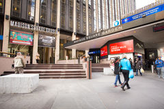 Madison Square Garden. NEW YORK CITY - OCTOBER 25, 2013: Exterior view of Madison Square Garden in midtown Manhattan with people visible Stock Photography