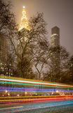 Madison Square Park snöstorm på natten, Manhattan, New York City Royaltyfri Bild