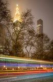 Madison Square Park, tempête de neige la nuit, Manhattan, New York City Image libre de droits