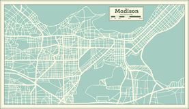 Madison USA City Map in Retro Style. Outline Map. Vector Illustration Royalty Free Stock Photography