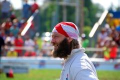 MADISON WI - AUGUSTI 31st, 2014: Den Förenade kungariket konkurrenten andas, når han har segrat en match Arkivfoto
