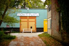 MADISON, WI - OCT 3TH, 2014: Het Theater van de bezemstraat op Williamson Street Stock Foto's