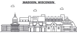 Madison, Wisconsin architecture line skyline illustration. Linear vector cityscape with famous landmarks, city sights royalty free illustration