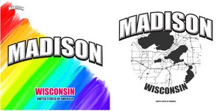 Madison, Wisconsin, two logo artworks. Madison, Wisconsin, logo design. Two in one vector arts. Big logo with vintage letters with nice colored background and Royalty Free Stock Photo
