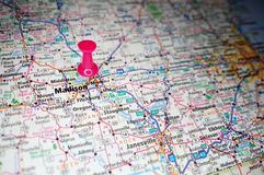 Madison, Wisconsin. A map of Madison, Wisconsin marked with a push pin royalty free stock photography