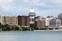 Madison Wisconsin. Skyline of Madison, Wisconsin featuring the Wisconsin State Capitol building stock photography
