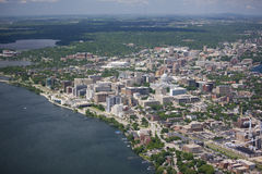 Madison wisconsin in summer. Aerial view of Madison Wisconsin in summer Royalty Free Stock Photo