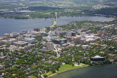 Madison wisconsin in summer. Aerial view of Madison Wisconsin in summer from over lake mendota Royalty Free Stock Image