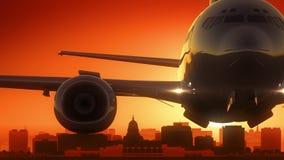 Madison Wisconsin USA America Skyline Sunrise Take Off Royalty Free Stock Images