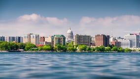 Madison, Wisconsin, USA downtown skyline at Lake Monona. stock video