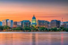 Madison, Wisconsin, USA Skyline. Madison, Wisconsin, USA downtown skyline at dusk on Lake Monona royalty free stock image