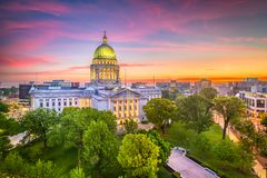Madison, Wisconsin, USA State Capitol Building. At dusk stock photo