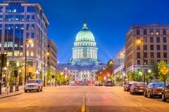 Madison Wisconsin, USA tillst?ndsKapitolium arkivfoton