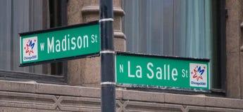 Madison y placa de calle de LaSalle en Chicago foto de archivo libre de regalías