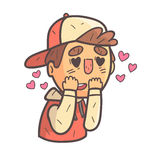 Madly In Love Boy In Cap And College Jacket Hand Drawn Emoji Cool Outlined Portrait Royalty Free Stock Photography