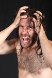 Madman pulling long hair. Bare chested young madman pulling at long wet hair, black background Royalty Free Stock Photos