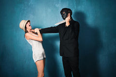 Madman and victim Royalty Free Stock Photo