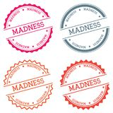 Madness badge isolated on white background. Flat style round label with text. Circular emblem vector illustration Stock Photography