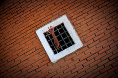 Madness, despair, hand of prisoner behind the bars, color royalty free stock photo