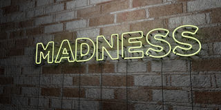 MADNESS - Glowing Neon Sign on stonework wall - 3D rendered royalty free stock illustration Royalty Free Stock Images