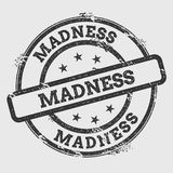 Madness rubber stamp isolated on white background. Grunge round seal with text, ink texture and splatter and blots, vector illustration Stock Image