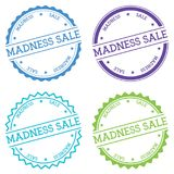 Madness sale badge isolated on white background. Flat style round label with text. Circular emblem vector illustration Royalty Free Stock Photos