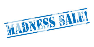 Madness sale blue stamp. Isolated on white background Stock Image
