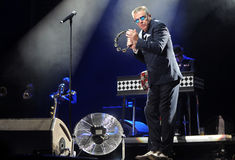 Madness. Singer Graham McPherson alias Suggs of famous British band Madness during performance at festival Rock for People in Hradec Kralove, Czech republic Stock Image