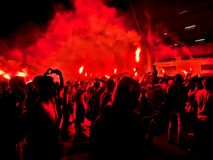 Madness of Widzew fans. Royalty Free Stock Photography