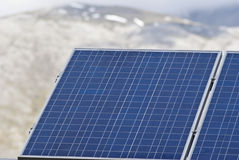 太阳电池板细节在Madonie山的 免版税库存图片