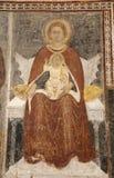 Madonna贝加莫- Giottesque中世纪壁画大教堂二的圣塔玛丽亚Maggiore 库存图片