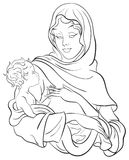 Madonna and baby Jesus. Nativity scene Stock Image