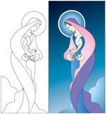 Madonna and Child. Illustration of the Virgin Mary holding baby Jesus, color and black and white images included Stock Photography