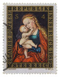 Madonna and child Austrian postage stamp Stock Photos