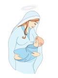 Madonna and child Jesus. Illustration Stock Photography