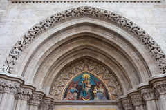 Madonna with Child on Matthias Church Tympanum Stock Image