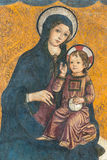 Madonna and child. Medieval fresco of Madonna and child in Capitoline Museum Stock Photos