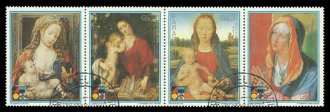 Madonna with Child. Paraguay - circa 1988: Coupling Stamps printed by Portugal, Color edition dedicated to 750 years Berlin, shows paintings Madonna with Child Royalty Free Stock Photos