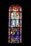 Madonna with Child. Stained glass, Notre Dame de Clignancourt church, Paris, France Royalty Free Stock Images