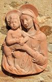 Madonna with child - terracotta decor Royalty Free Stock Image