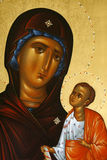 Madonna and Christ. A wood icon with Madonna and Christ Royalty Free Stock Image