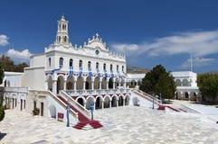 The Madonna church at Tinos island. Church of Panagia Evangelistria at Tinos island in Greece Royalty Free Stock Photos
