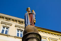 Madonna, Cieszyn, Poland. Madonna - Virgin Mary with Jesus Christ, Old Market ( Stary targ ), Cieszyn, Silesia, Poland, Central Europe - sculpture of religious Royalty Free Stock Photos