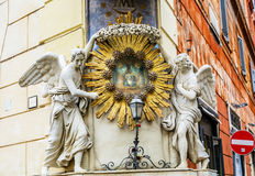 Madonna del Archetto Angels Piazza de Trevi Rome Italy. Madonna del Archetto Angels Statues Street Piazza de Trevi Fountain Rome Italy.  Small church created in Royalty Free Stock Images