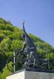 Madonna del Ghisallo Lombardy, Italy: statue of cyclists Royalty Free Stock Photography