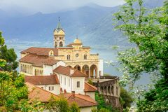 Madonna del Sasso Church directly above the Maggiore lake and c stock photo
