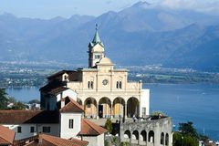 Madonna del Sasso, medieval monastery on the rock overlook lake Stock Images