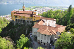 Madonna del Sasso, monastery on the rock overlook lake Stock Photography